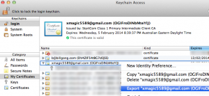 Export certificate from keychain