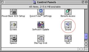 控制面板的声音选项