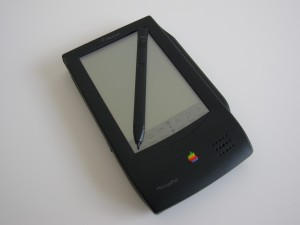 Original MessagePad with its metal stylus