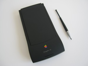 MessagePad 120 with cover closed and click-pop stylus