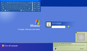 Windows XP Tablet Edition Login screen with on-screen keyboard and fingerprint reading message
