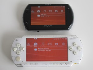 PSP Go's third brightness level is  similar to PSP Phat's fourth level. PSP Go in this picture also has color space set to normal and background set to classic (which is the same as PSP Phat)