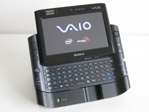 Docked Vaio UX with lid open