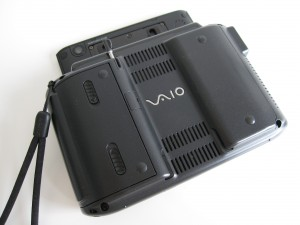 Vaio UX back with lid open. Notice stylus holder and rear camera